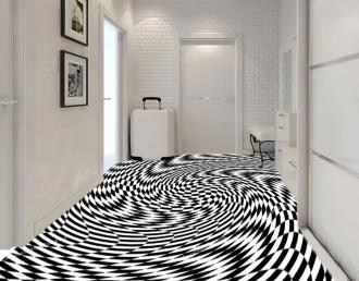 """Линолеум с необычным рисунком """"Геометрический,оптическая иллюзия, черно-белый"""" №1013 купить"""