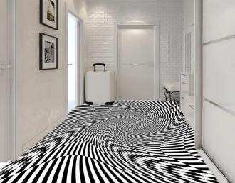 """Линолеум с необычным рисунком """"Геометрический,оптическая иллюзия, черно-белый"""" №1014 купить"""