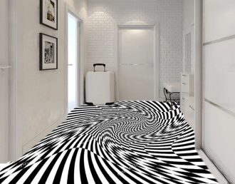"""Линолеум с необычным рисунком """"Геометрический,оптическая иллюзия, черно-белый"""" №1015 купить"""