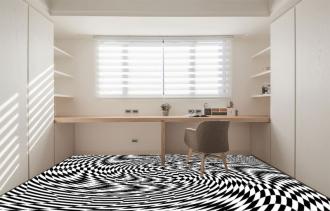 """Линолеум с необычным рисунком """"Геометрический,оптическая иллюзия, черно-белый"""" №1016 купить"""