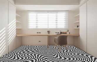 """Линолеум с необычным рисунком """"Геометрический,оптическая иллюзия, черно-белый"""" №1017 купить"""