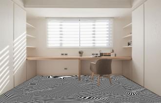 """Линолеум с необычным рисунком """"Геометрический,оптическая иллюзия, черно-белый"""" №1003 купить"""