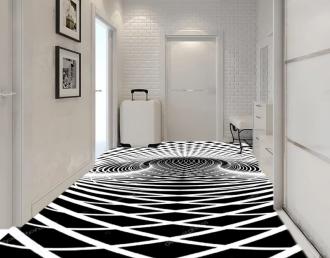 """Линолеум с необычным рисунком """"Геометрический,оптическая иллюзия, черно-белый"""" №1005 купить"""