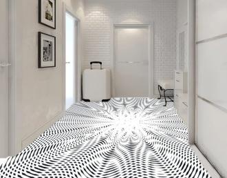 """Линолеум с необычным рисунком """"Геометрический,оптическая иллюзия, черно-белый"""" №1008 купить"""