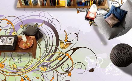 Напольное покрытие с рисунком Обои, Линолеум ДЕКОР ЦВЕТЫ