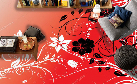 Напольное покрытие с рисунком Обои, Линолеум ЧЕРНЫЕ ЦВЕТЫ НА КРАСНОМ ФОНЕ