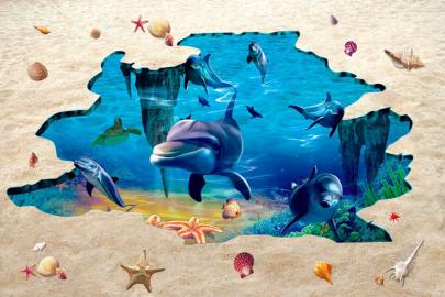 Напольное покрытие с рисунком Обои, Линолеум ТРЕЩИНА ПЕСОК МОРСКОЕ ДНО ДЕЛЬФИНЫ