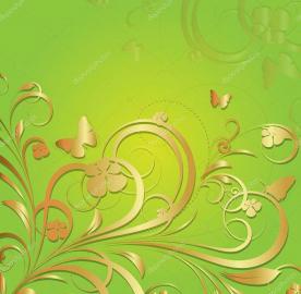 Напольное покрытие с рисунком Обои, Линолеум ЗЕЛЕНЫЙ ФОН ЗОЛОТЫЕ УЗОРЫ
