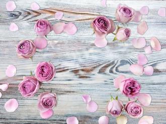 """Обои для пола """"Розы, лепестки, дерево"""". Наклейка, печать для наливного пола."""