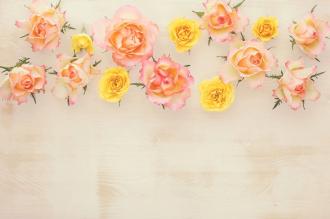 """Обои для пола """"Цветы, розы, фон дерево"""". Наклейка, печать для наливного пола."""