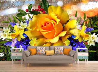 """Фотообои """"Желтая роза, цветы, капли, окно"""""""
