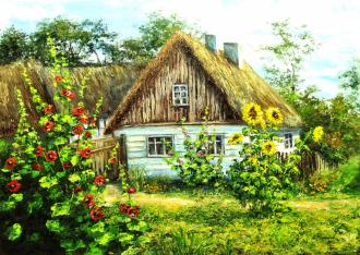 "Фотообои Фреска ""Деревня, домик, подсолнух, зелень"""