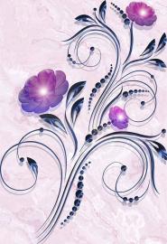 Напольное покрытие с рисунком СИНИЙ ЦВЕТОК НА РОЗОВОМ МРАМОРЕ