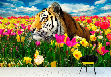 """Фотообои на стену животные """"Тигр, поле тюльпанов, небо"""""""
