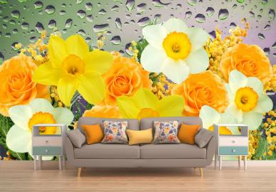 """Фотообои на стену """"Нарциссы, желтые, белые, капельки на стекле"""""""