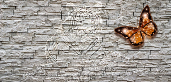 Фотообои на стену ТИГР КИРПИЧНАЯ СТЕНА БАБОЧКА