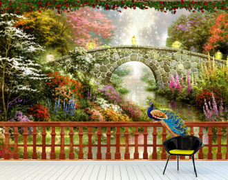 """Фотообои Фреска """"Лес, мост, речка, зелень, павлин"""""""