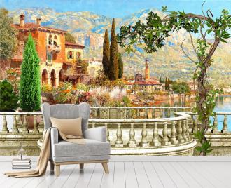 """Фотообои Фреска """"Вид на озеро, дома, балкон"""""""
