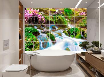 """Керамическая плитка """"Водопад, цветы, зелень, камни"""""""