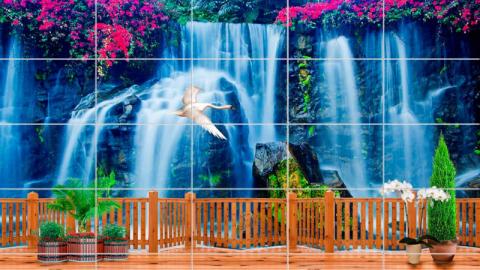 """Керамическая плитка """"Водопад, цветы, терраса"""""""