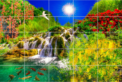 "Керамическая плитка ""Водопад, цветы, рыбки, небо, солнце"""