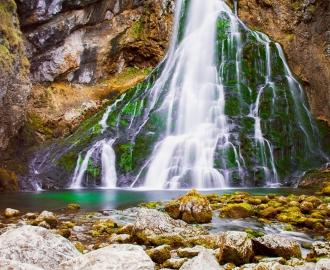 """Керамическая плитка с изображением """"Горы. Скалы, водопад"""""""