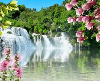 """Керамическая плитка с изображением """"Водопад. Розовые цветы"""""""