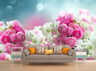 """Фотообои """"Розы белые и розовые, голубое небо"""""""