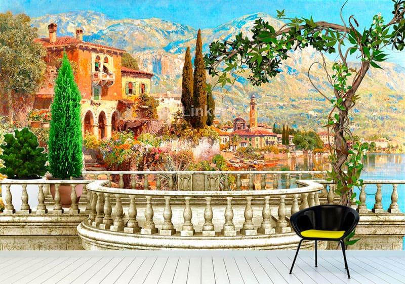 """Фотообои Фреска """"Вид на озеро, дома, балкон"""" в интерьере №1"""