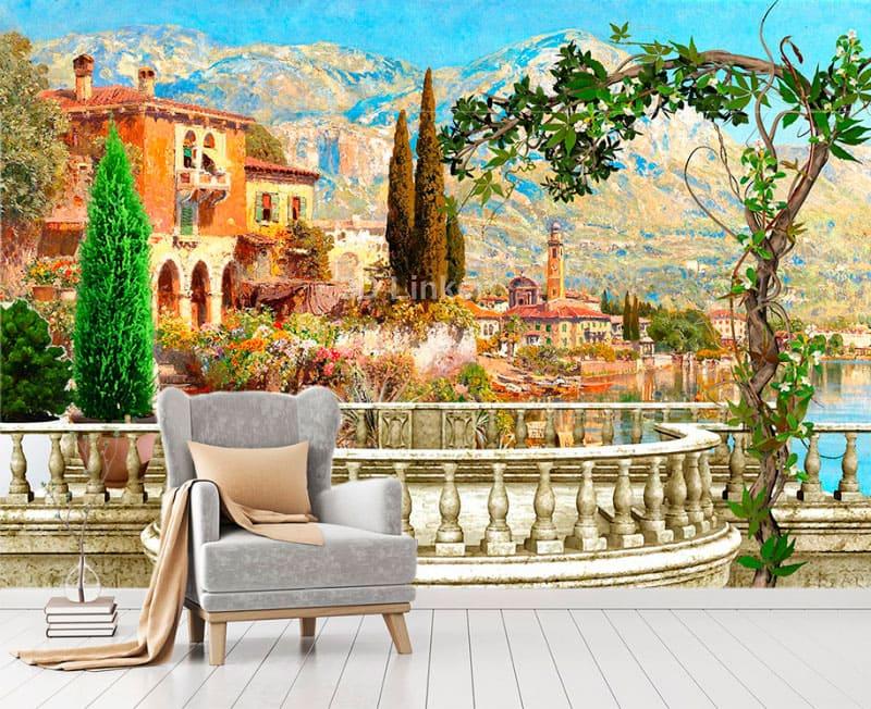 """Фотообои Фреска """"Вид на озеро, дома, балкон"""" в интерьере №2"""